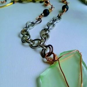Jewelry - Handmade Sea Glass Steampunk Style Chain Necklace